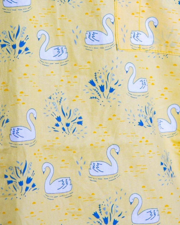 Yellow Majestic Swan Short Sleeve Scrub Top 100% Cotton
