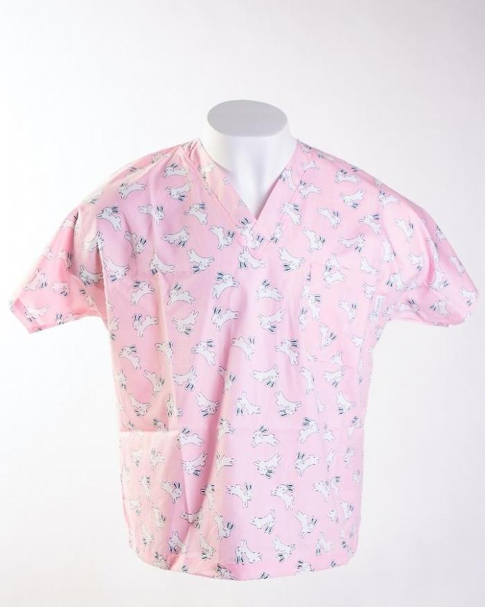 Pink Jumping Rabbits Short Sleeve Scrub Top 100% Cotton
