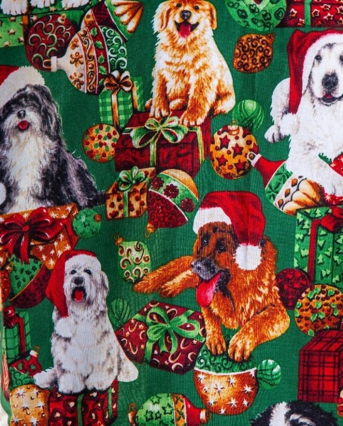 Christmas Dogs Short Sleeve Scrub Top 100% Cotton