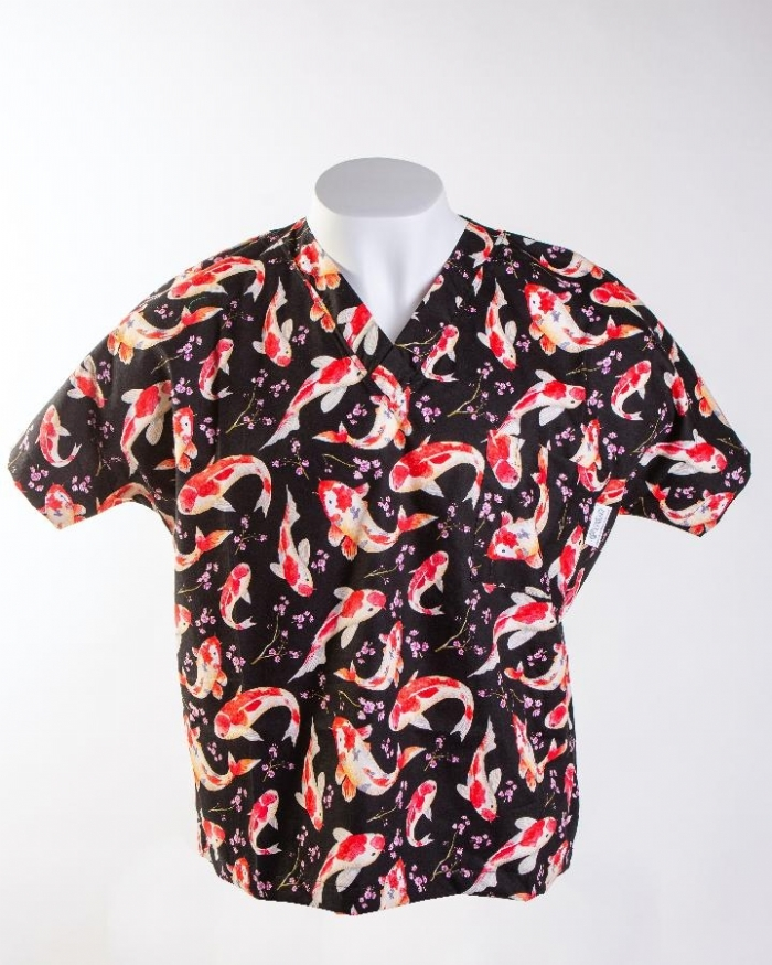 Black Koi Short Sleeve Scrub Top 100% Cotton