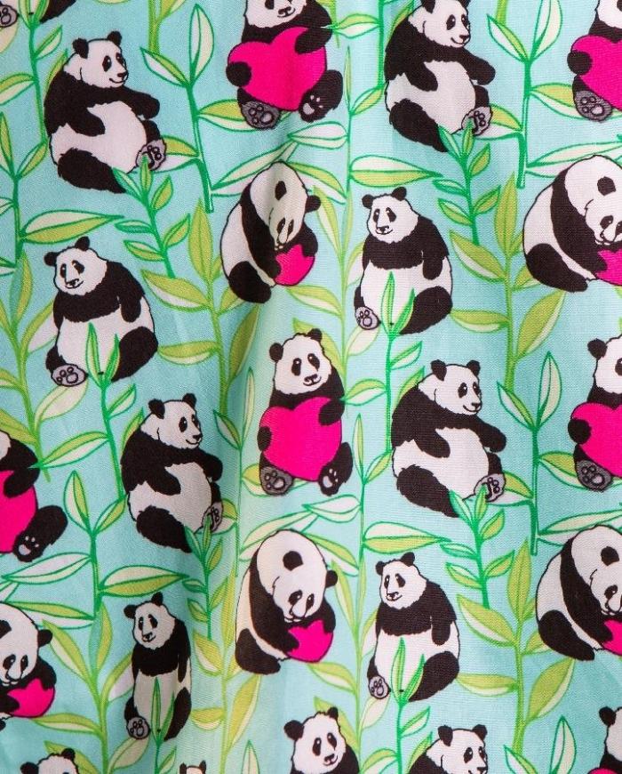 Loved Up Panda Green Short Sleeve Scrub Top 100% Cotton
