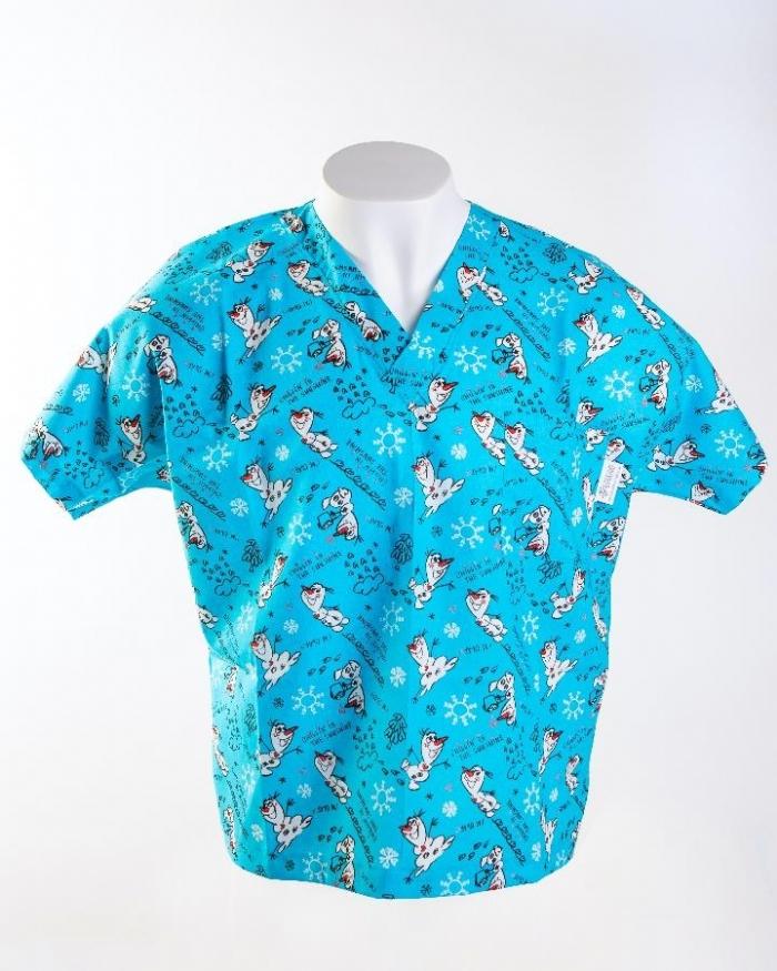 Disney Olaf Short Sleeve Scrub Top 100% Cotton