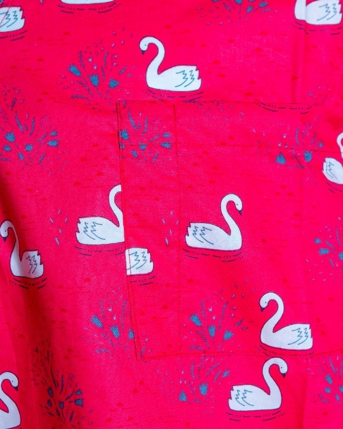 Red Majestic Swan Short Sleeve Scrub Top 100% Cotton