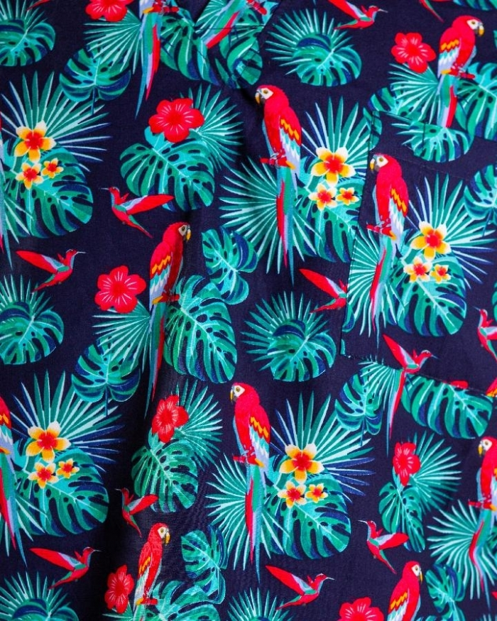 Rose & Parrot Black Short Sleeve Scrub Top 100% Cotton