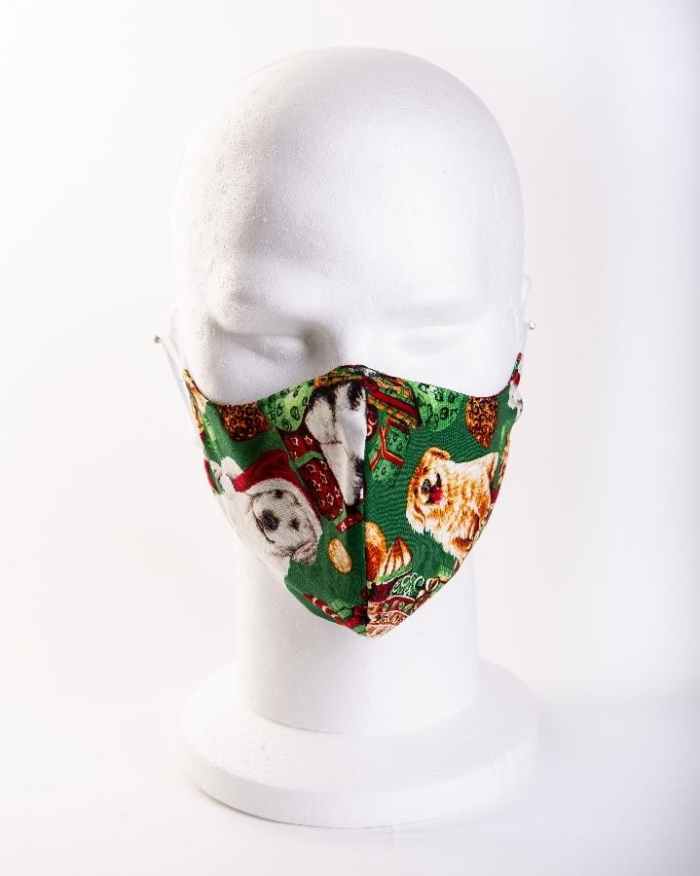 Christmas dogs 100% cotton face masks