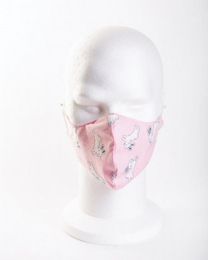 Pink jumping rabbits 100% cotton face masks