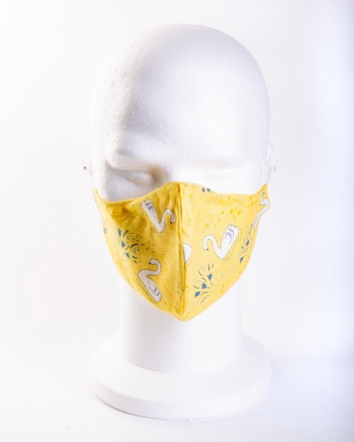 Yellow majestic swan 100% cotton face masks