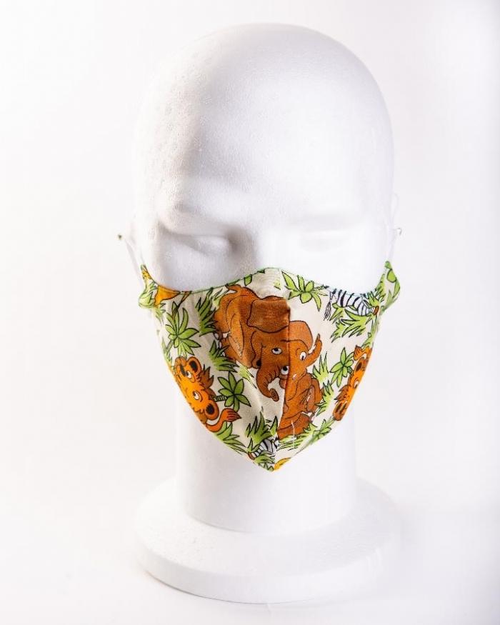 Zafari cartoon animals 100% cotton face masks