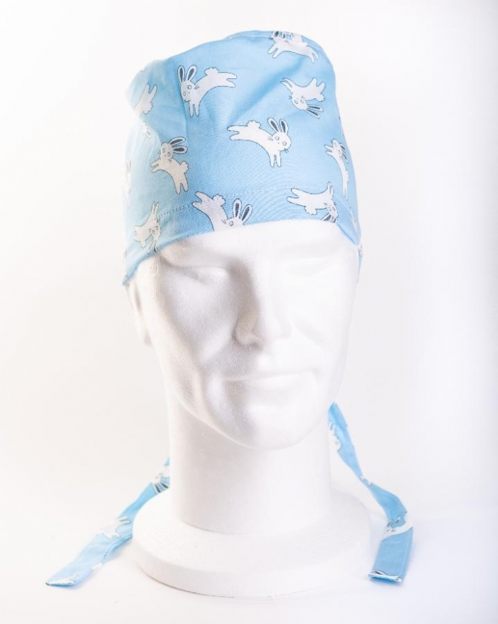 Blue Jumping Rabbits Surgeons Hat 100% Cotton