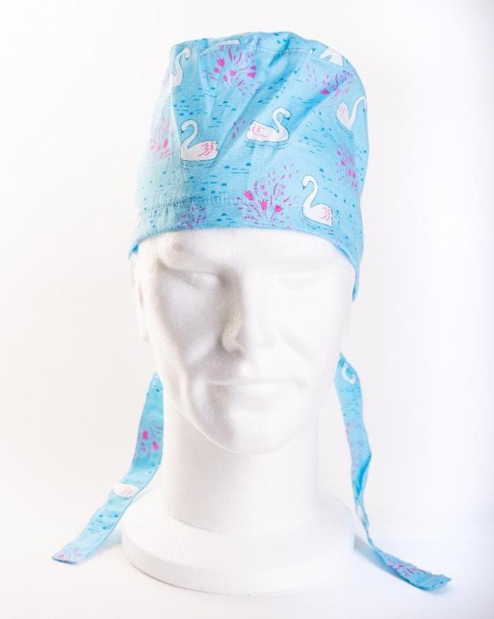 Blue Majestic Swan Surgeons Hat 100% Cotton