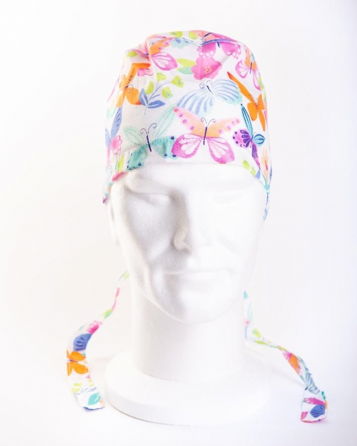 MultiColoured Butterflies Hat 100% Cotton