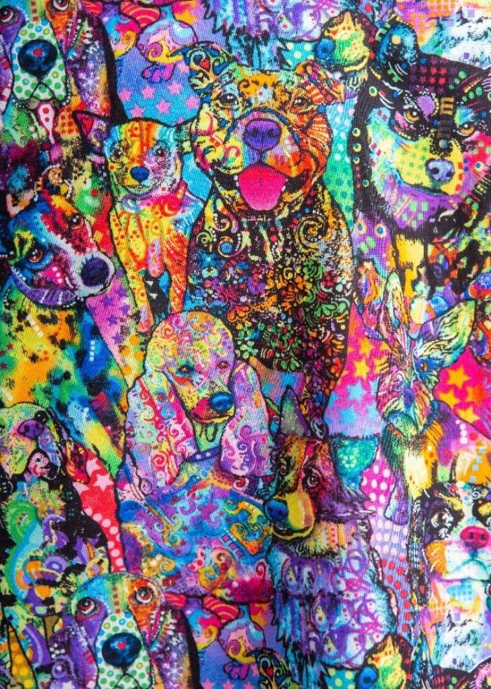 Pyscho Dogs Short Sleeve Scrub Top 100% Cotton