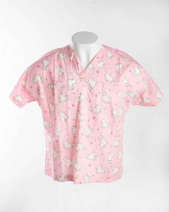 Pink Baby Lamb Short Sleeve Scrub Top 100% Cotton