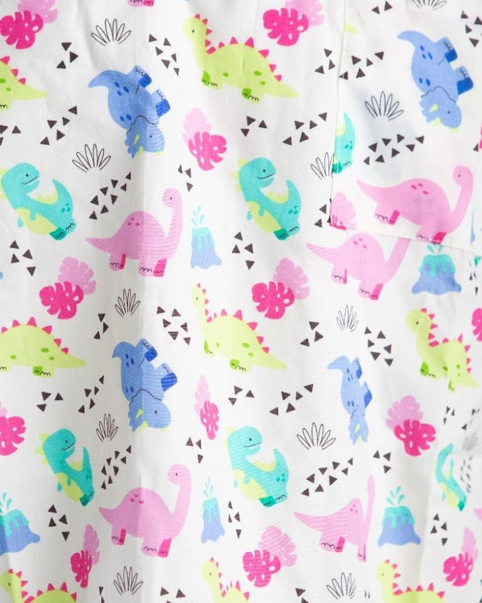 Ivory Baby Dinosaur Short Sleeve Scrub Top 100% Cotton