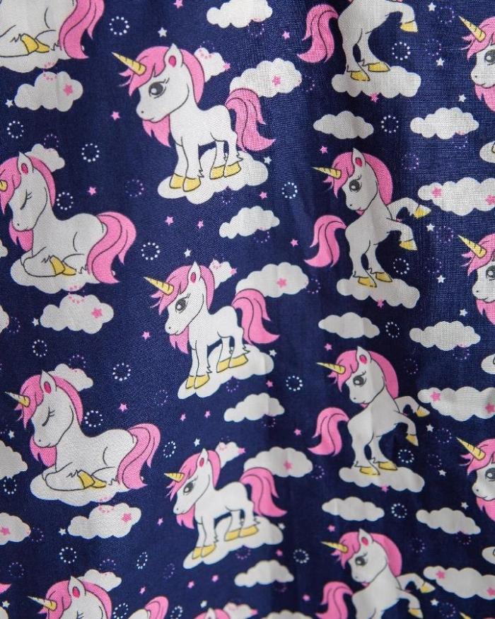 Navy Baby Unicorn Short Sleeve Scrub Top 100% Cotton