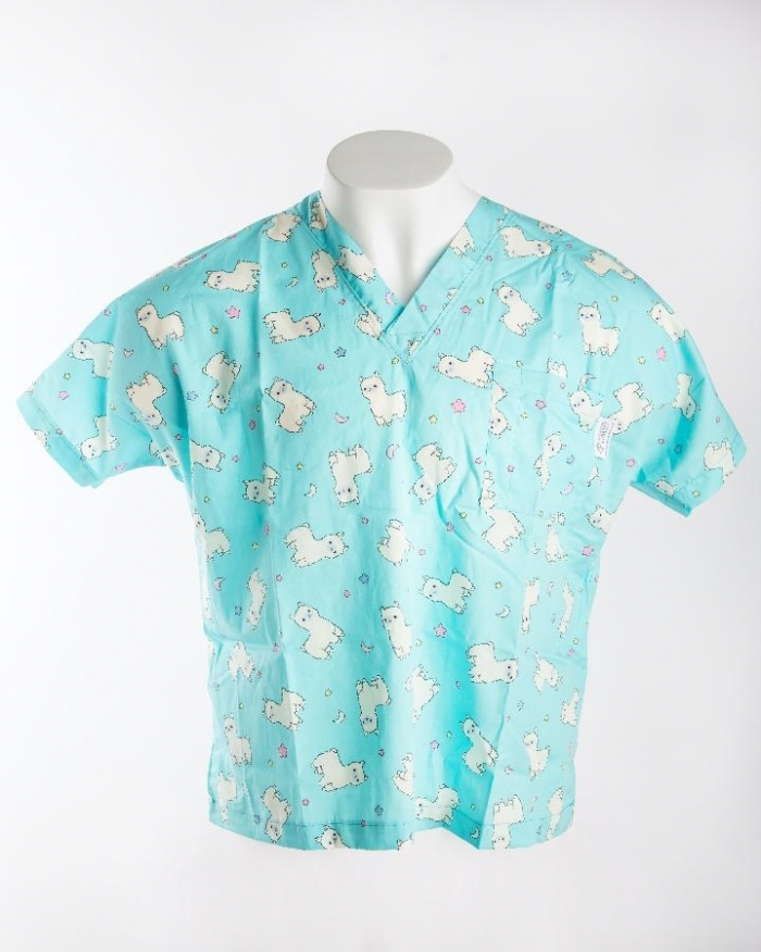 Blue Baby Lamb Short Sleeve Scrub Top 100% Cotton