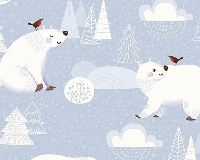 Little Johnny - The Xmas Polar Bear and The Robin Short Sleeve Scrub Top 100% Cotton
