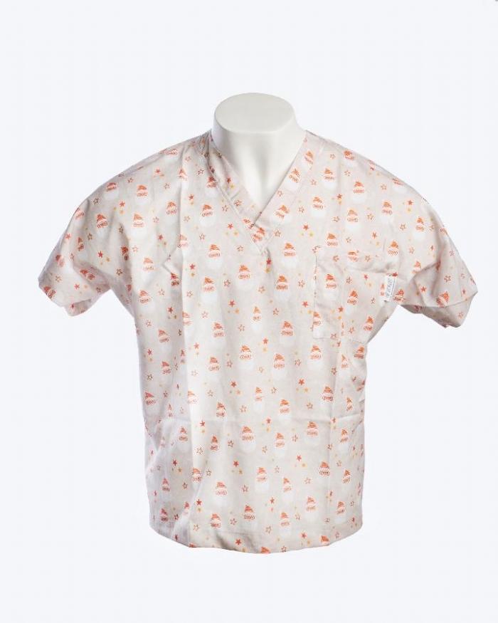 Little Johnny - Merry Santa Face Short Sleeve Scrub Top 100% Cotton
