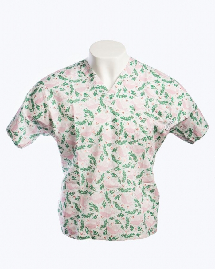 Little Johnny - Xmas Dove and Berries Short Sleeve Scrub Top 100% Cotton