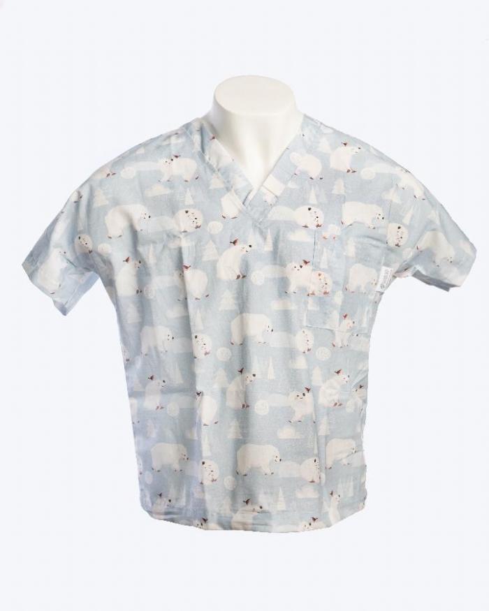 Artic Polar Bear Short Sleeve Scrub Top 100% Cotton