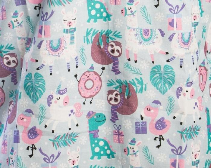 Forest Animals Short Sleeve Scrub Top 100% Cotton