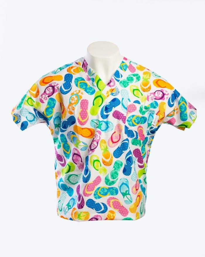 Party On The Beach Short Sleeve Scrub Top 100% Cotton