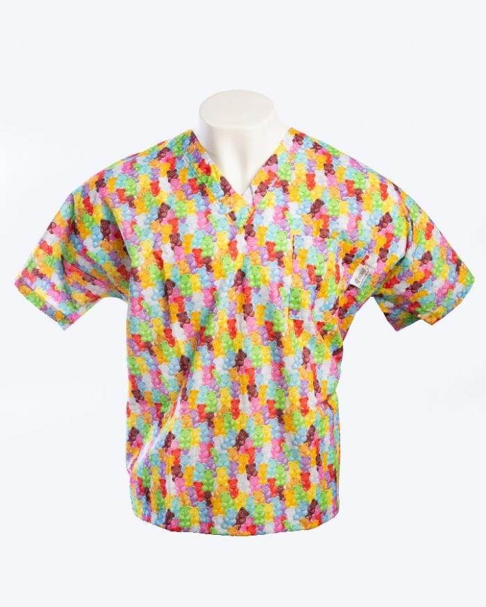 Multicolored Gummy Bears Short Sleeve Scrub Top 100% Cotton