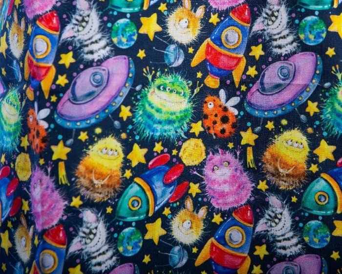 Monsters And Starships Short Sleeve Scrub Top 100% Cotton