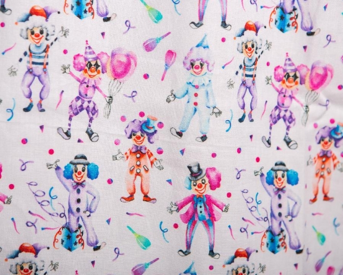 Happy Clowns Short Sleeve Scrub Top 100% Cotton