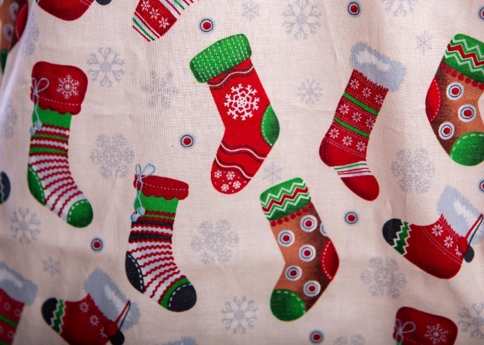 Christmas Elfs Stockings Short Sleeve Scrub Top 100% Cotton