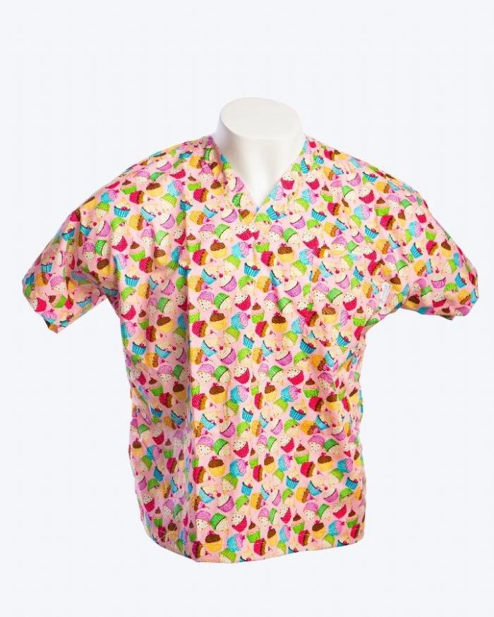 Cupcake Heaven Short Sleeve Scrub Top 100% Cotton