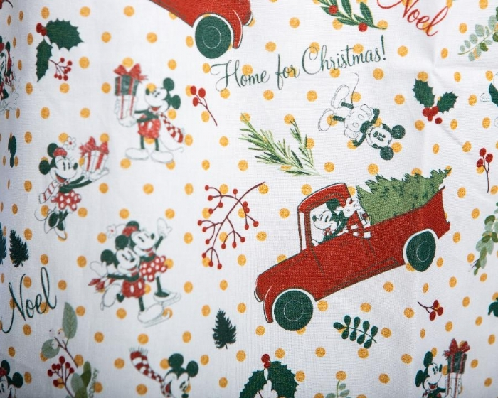 Mickys Home For Christmas Short Sleeve Scrub Top 100% Cotton
