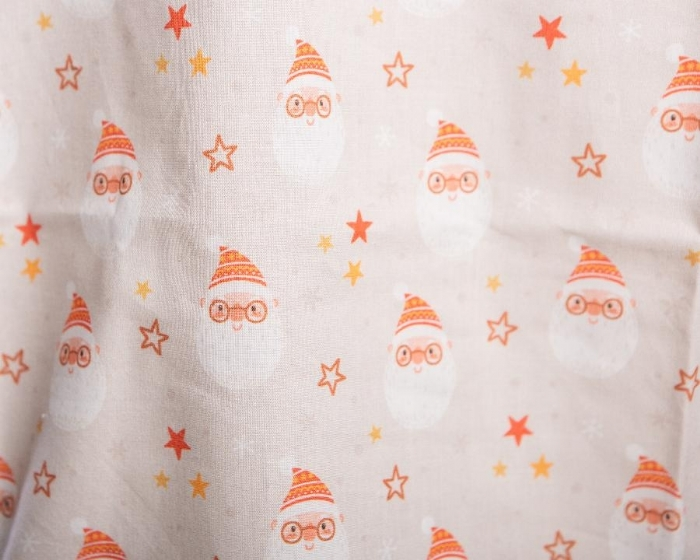 Father Christmas And Stars Short Sleeve Scrub Top 100% Cotton
