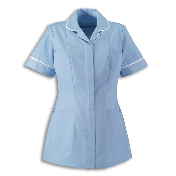 Womens Tunic Pale Blue With White Trim
