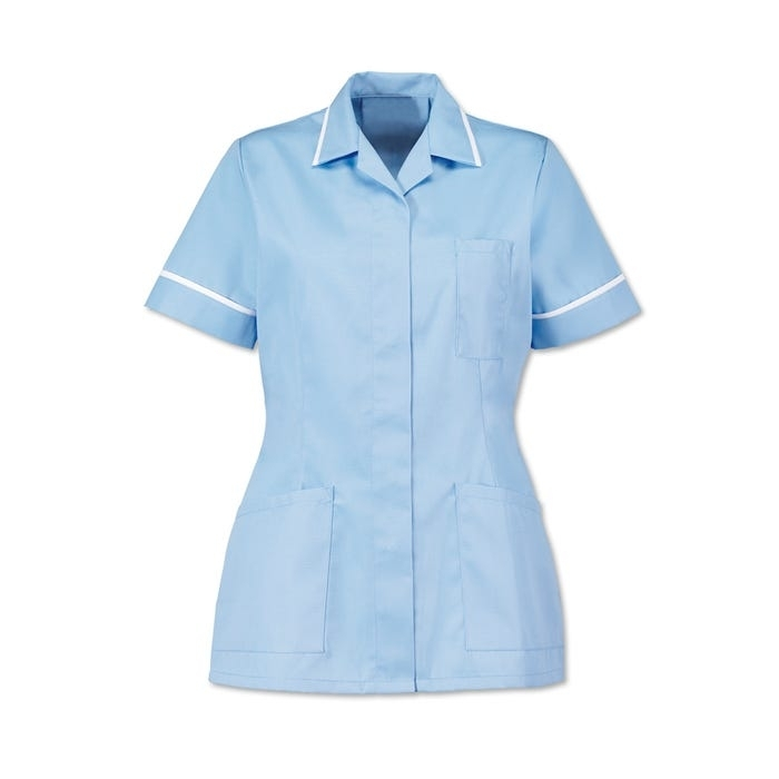 Womens Tunic Pale Blue With White Trim d313