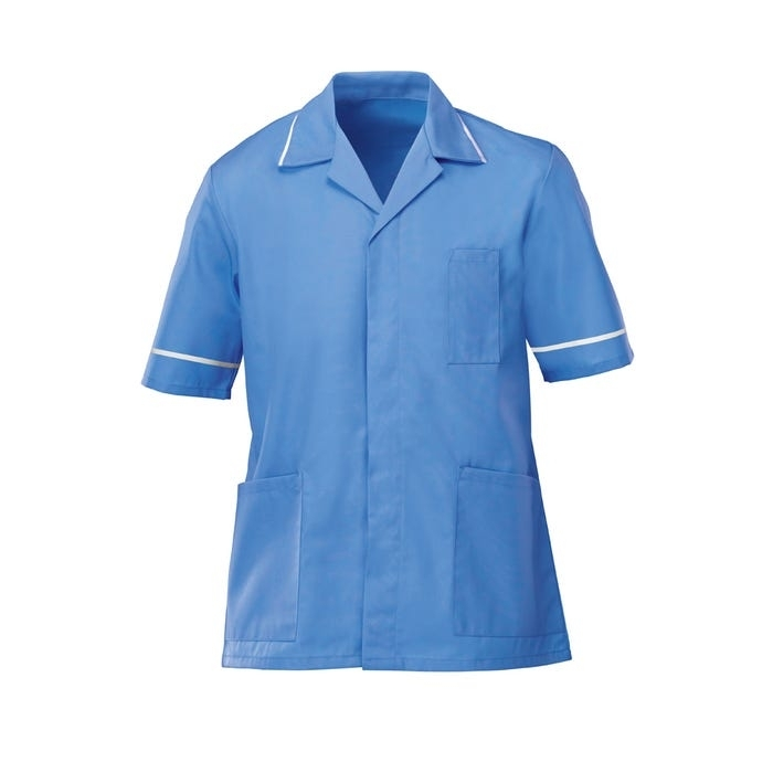Mens Classic Tunic Hospital Blue With White Trim