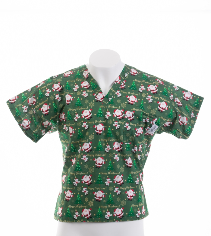 Father Christmas And The Tree Short Sleeve Scrub Top 100% Cotton