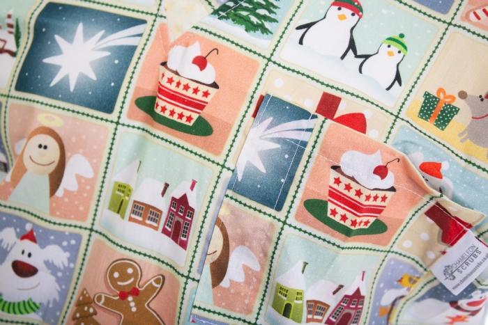 Christmas Friends Short Sleeve Scrub Top 100% Cotton