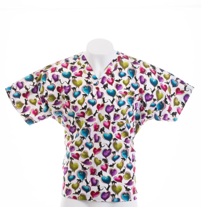 Cats Love Hearts Short Sleeve Scrub Top 100% Cotton