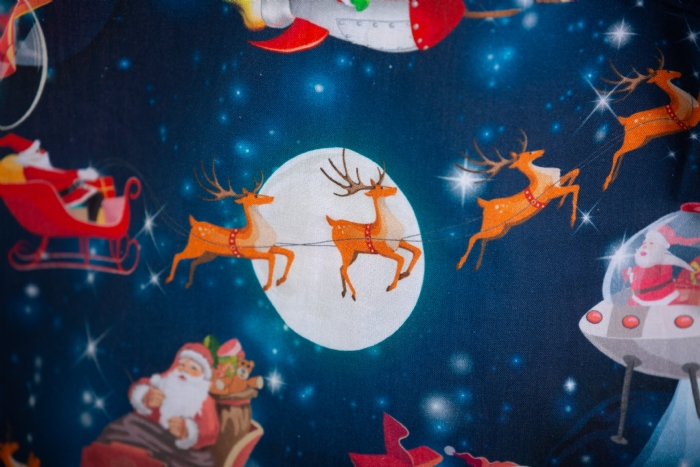 Father Christmas In Space Short Sleeve Scrub Top 100% Cotton