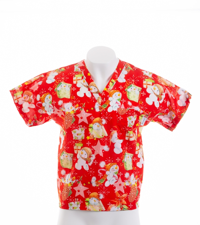 Red Snowman And The Star Short Sleeve Scrub Top 100% Cotton