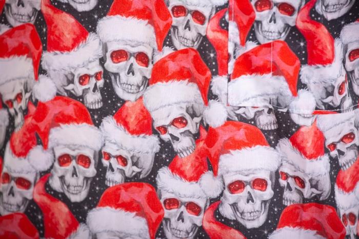 Scary Skulls Father Christmas Short Sleeve Scrub Top 100% Cotton