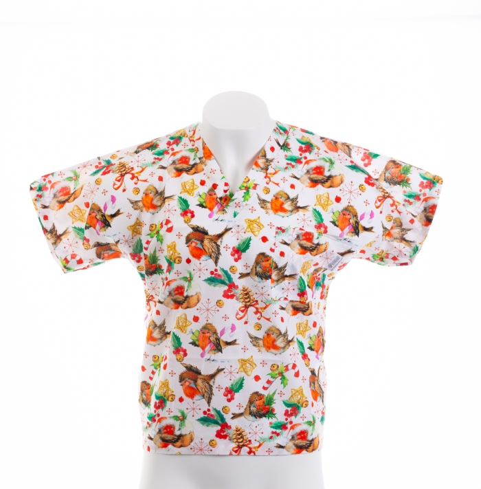The Robin And The Holly Short Sleeve Scrub Top 100% Cotton