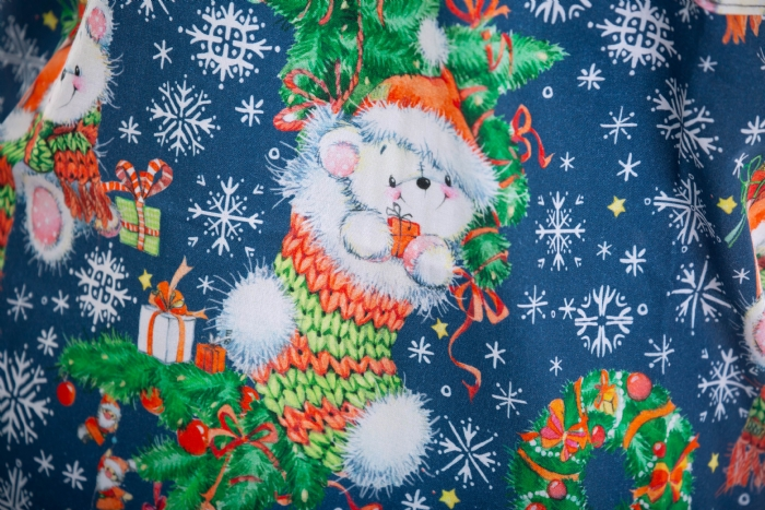 Teddy In The Christmas Stocking Short Sleeve Scrub Top 100% Cotton
