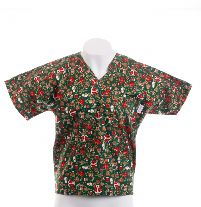 Christmas Presents Short Sleeve Scrub Top 100% Cotton